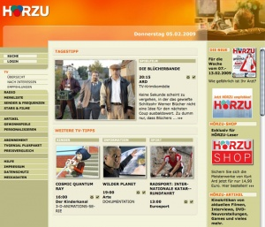 Relaunch Hörzu Online - Electronic Program Guide Homepage